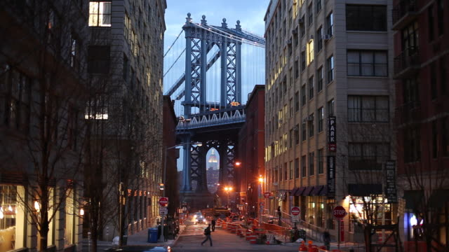 ws street with manhattan bridge in background at dusk / new york city, new york, usa - bare tree stock videos & royalty-free footage