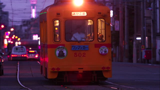 Streetcar And Tsutenkaku, Osaka, Japan
