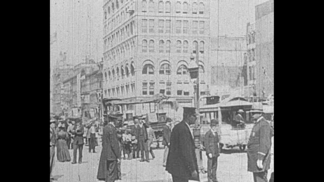 streetcars pedestrians traffic police wagons on union square looking south on fifth avenue and broadway / note exact year not known documentation... - 19th century stock videos & royalty-free footage