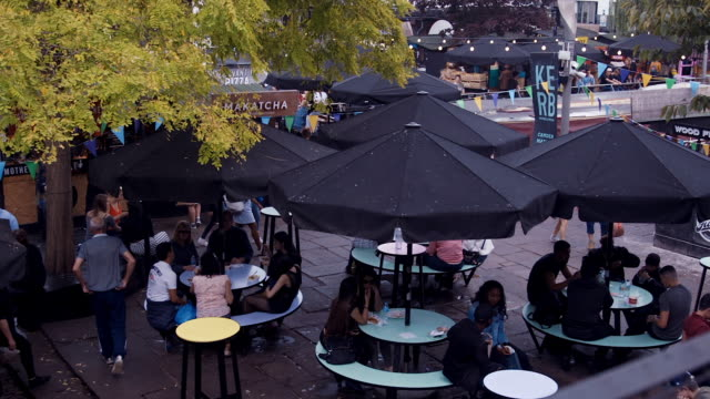 kerb streetfood market in london (slow motion) - food court stock videos and b-roll footage