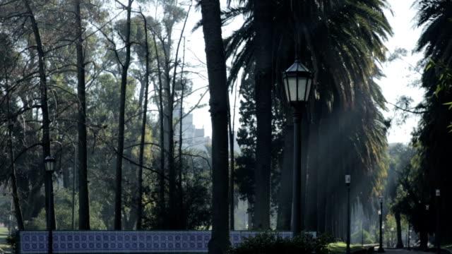 Streetlight at morning in a green park.