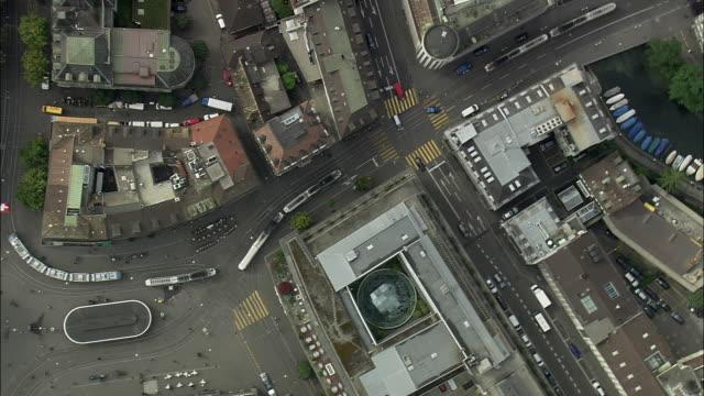 aerial streets and canals, zurich, switzerland - switzerland stock videos & royalty-free footage