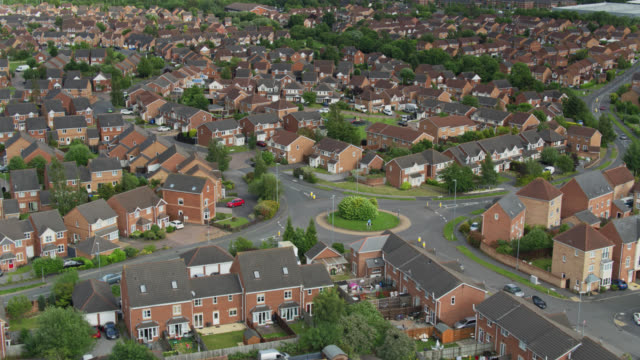streets and houses in thorpe astley, leicester - aerial - house stock videos & royalty-free footage