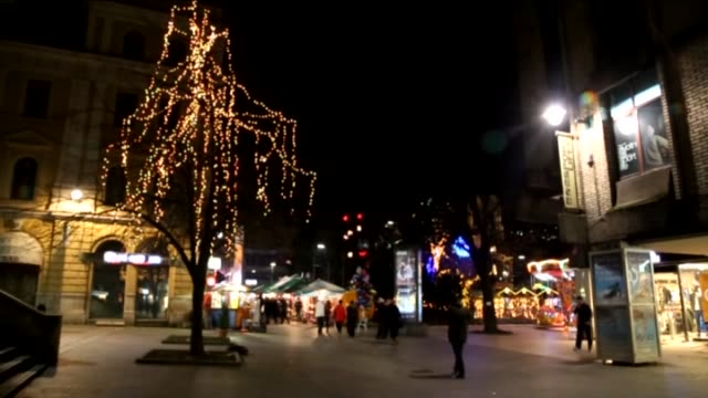 Streets are lightened ahead of New Year celebrations and concerts and entertainment shows will be displayed on the squares of Sarajevo Bosnia and...