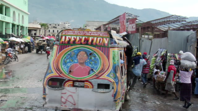 ms pov streets at puerto principe / haiti - haiti stock videos & royalty-free footage