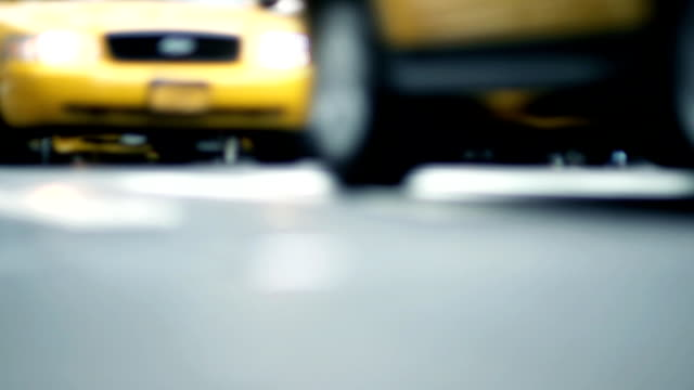 slow motion - nyc streets, dof, soft focus - yellow taxi stock videos & royalty-free footage