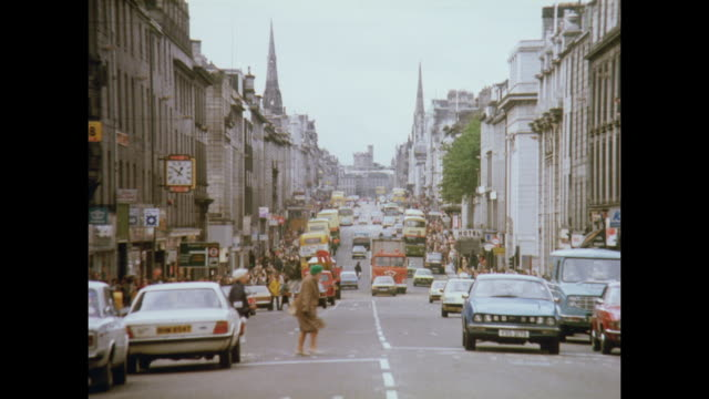 1981 streets of aberdeen, scotland - aberdeen schottland stock-videos und b-roll-filmmaterial