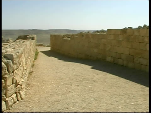 streets of ancient nabataean city ovdat, israel - stone wall stock videos & royalty-free footage
