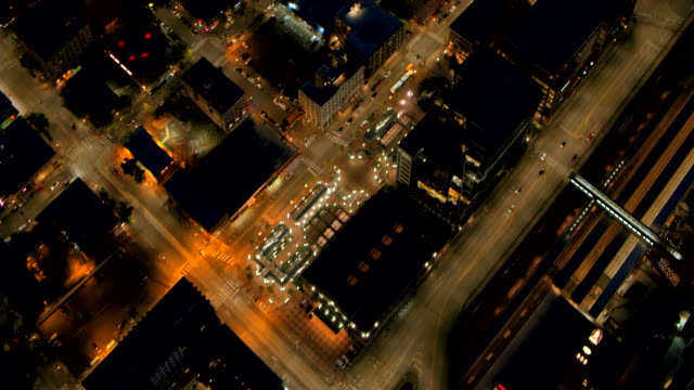 AERIAL Streets of Downtown Seattle in the evening