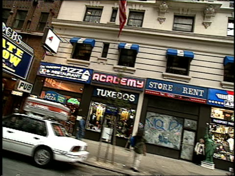 streets of midtown manhattan and ed sullivan theater in 1994 - 1994 stock-videos und b-roll-filmmaterial