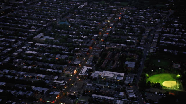 aerial streets of montreal, quebec, at night - montréal stock videos & royalty-free footage