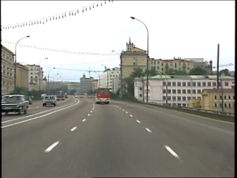 streets of sovietera moscow seen from driving car - subjektive kamera blickwinkel aufnahme stock-videos und b-roll-filmmaterial