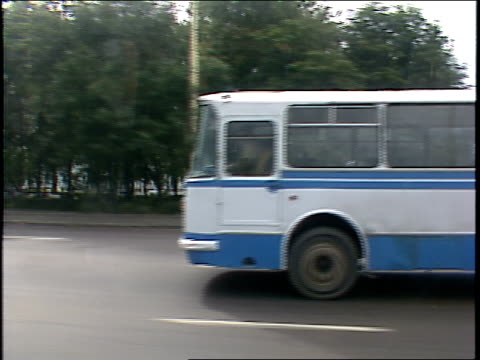 streets of soviet-era moscow seen from driving car - 1987 stock videos & royalty-free footage