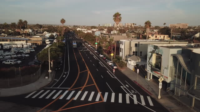 streets of venice california - aerial drone shot - venice california stock videos & royalty-free footage