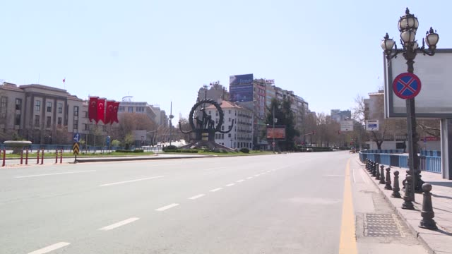streets remain empty after a two-day curfew imposed to stem the spread of coronavirus in capital ankara, turkey on april 11, 2020. turkey's two-day... - トルコ点の映像素材/bロール