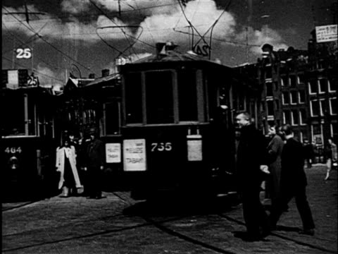streets scenes before second world war / amsterdam noordholland netherlands - stazione video stock e b–roll