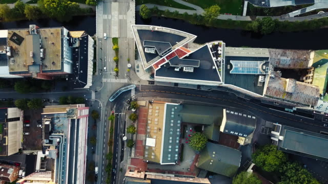 streets, traffic and buildings in norway seen from above - drone point of view stock videos & royalty-free footage