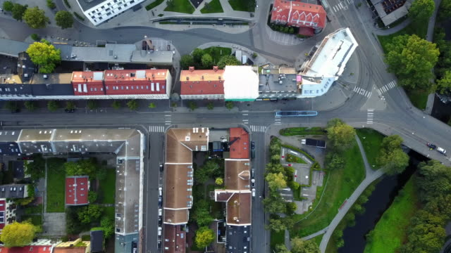 streets, traffic and buildings in norway seen from above - street stock videos & royalty-free footage