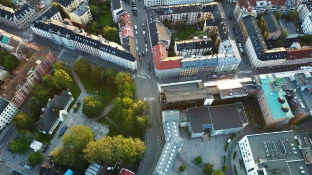 streets, traffic and buildings in norway seen from above - horizontal stock videos & royalty-free footage