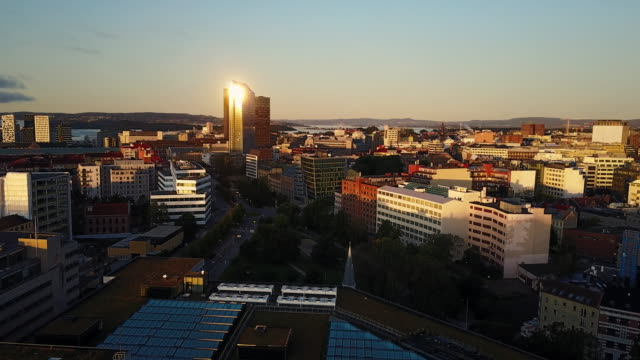 streets, traffic and buildings in oslo, norway seen from above - scandinavia stock videos & royalty-free footage