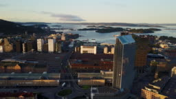 Streets, traffic and buildings in Oslo, Norway seen from above