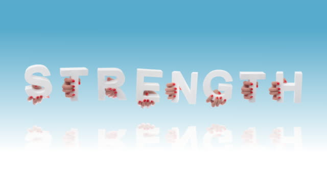 strength in white cardboard letters - red nail polish stock videos and b-roll footage