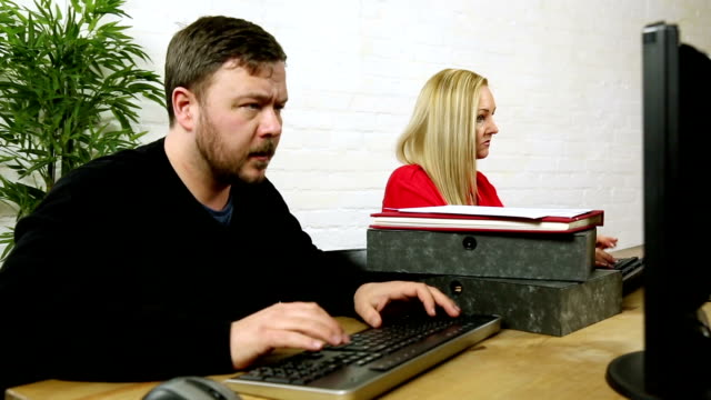 stressed office worker data administrator has breakdown at high workload