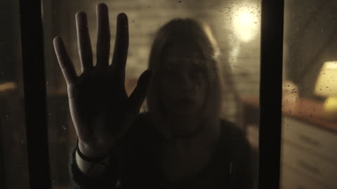 stressed women holding hand inside of the window - trapped stock videos & royalty-free footage