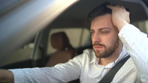 stressed / worried driver - car interior stock videos & royalty-free footage