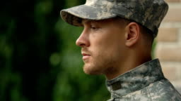 Stressed young soldier thinking problem, posttraumatic disorder, mental health