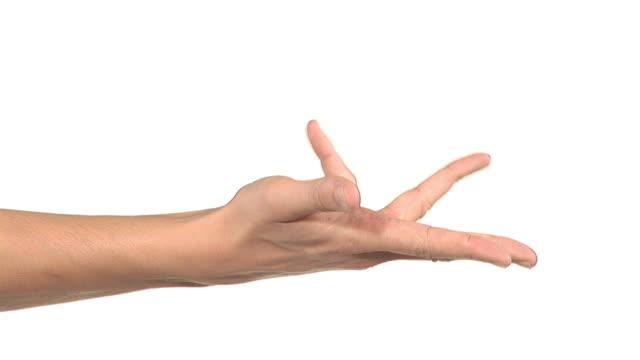vidéos et rushes de hd : étirer les doigts - fond blanc
