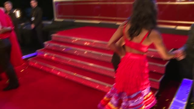 strictly come dancing 2015 launch; england: london: elstree studios: int glitter ball / fans waiting / professional dancers kristina rihanoff and... - ストリクトリーカムダンシング点の映像素材/bロール