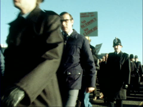 corby protesters and police march rl - 1979 stock videos and b-roll footage