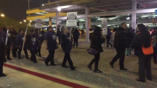 Strike at Newark International Airport for unfair labor practices and to raise low working wages