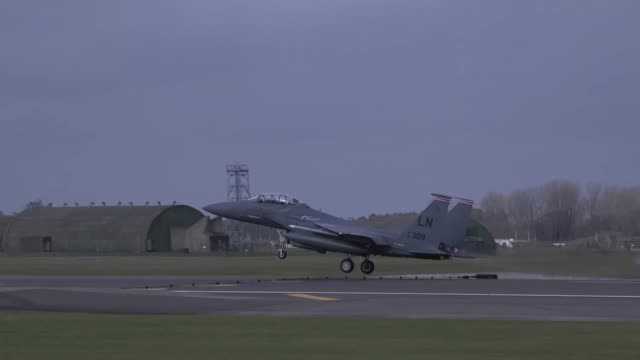 Strike Eagles take off from Royal Air Force Lakenheath England in preparation for the Mi Amigo commemorative flyover on 22 February 2019