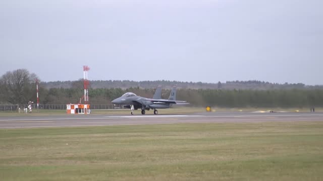 strike eagles take off from royal air force lakenheath england in preparation for the mi amigo commemorative flyover on 22 february 2019 - afterburner stock videos and b-roll footage