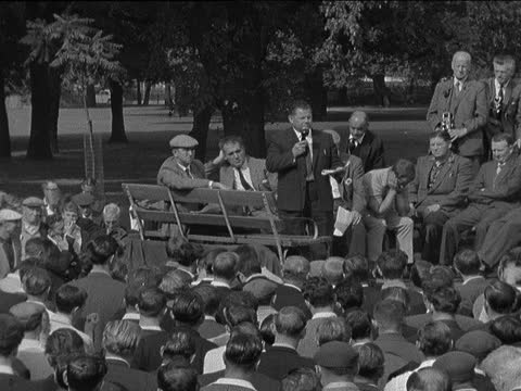 strike meeting in victoria park; england: london: hackney: victoria park: bv meeting of strikers bill lindley speaking sof - 'these are the... - itv evening bulletin stock videos & royalty-free footage