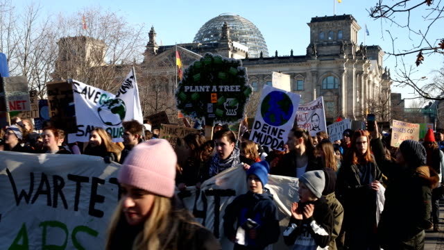 Striking high school students during the demonstration to the chancellery to protest for more effective government climate change policy on February...