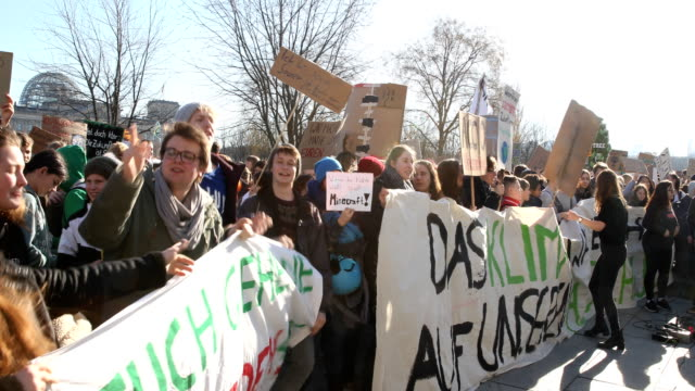 striking high school students march to protest for more effective government climate change policy on february 15 2019 in berlin germany in front of... - climate policy stock videos & royalty-free footage