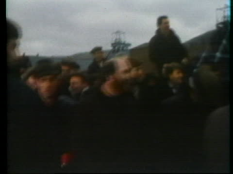 striking miners keep supervisors out of a mine in wales. - miner stock videos & royalty-free footage