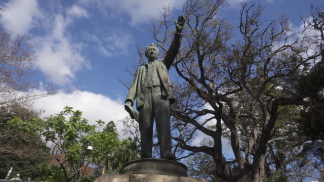 a striking pan of a bronze statue in cape town with the tops of trees and a lovely blue sky with patchy clouds - statue stock videos & royalty-free footage