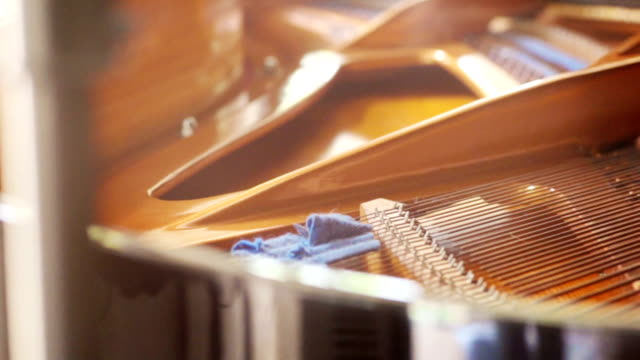 strings inside the grand piano. - piano key stock videos & royalty-free footage