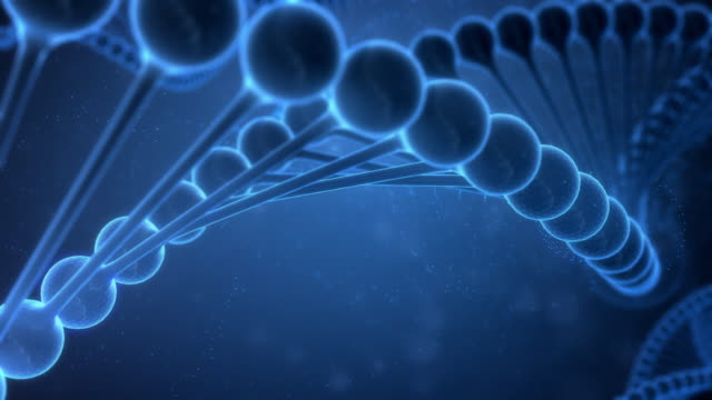 dna strings on blue background - chromosome stock videos and b-roll footage