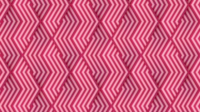 vídeos de stock e filmes b-roll de striped geometric pattern in line art style. abstract geometric background. digital seamless loop animation. 3d rendering. 4k, ultra hd resolution - cor de rosa