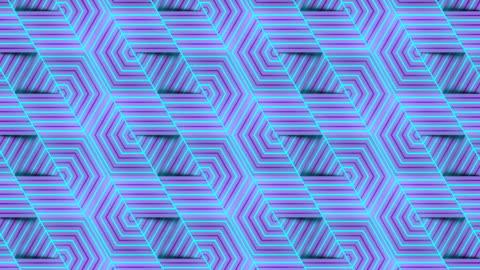 ストライプ六角形の幾何学模様デジタルシームレスなループアニメーション。3d レンダリング。4k、ウルトラhd解像度 - 投影図点の映像素材/bロール