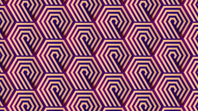 vídeos de stock, filmes e b-roll de padrão geométrico hexagonal listrado em fundo animado estilo futurista. animação digital de loop sem emendas. renderização 3d. 4k, resolução ultra hd - tecer