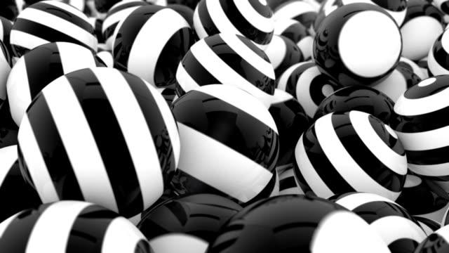 stripey black & white spheres - black colour stock videos & royalty-free footage