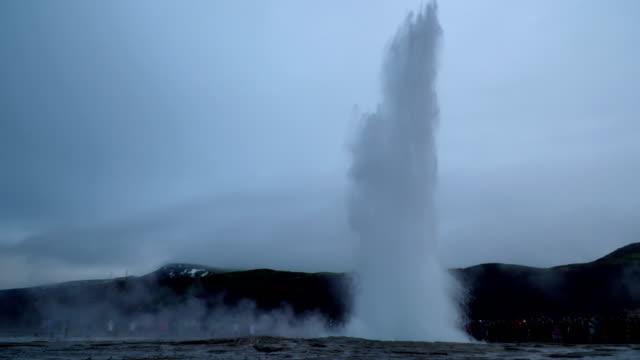 4K Strokkur Gesyer erupting in Iceland