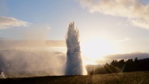 strokkur geyser, iceland - geyser stock videos & royalty-free footage