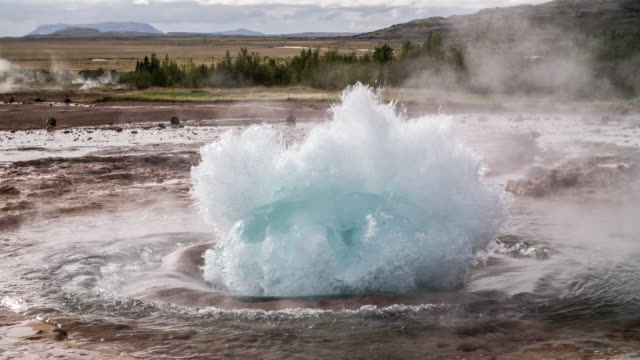 strokkur geyser in iceland, slow motion - 4k nature/wildlife/weather - geyser stock videos & royalty-free footage